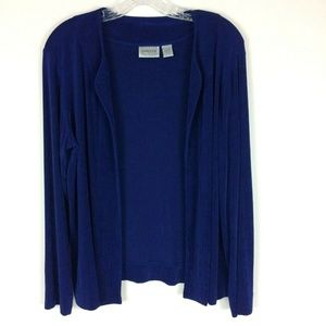 Chico's Travelers 2 Royal Blue Open Front Cardigan